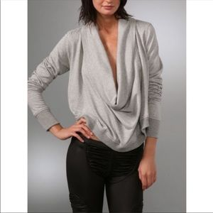 Aiko Gray Cropped Cowl Neck Sweatshirt Size M